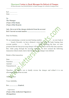 letter to bank manager for refund of charges