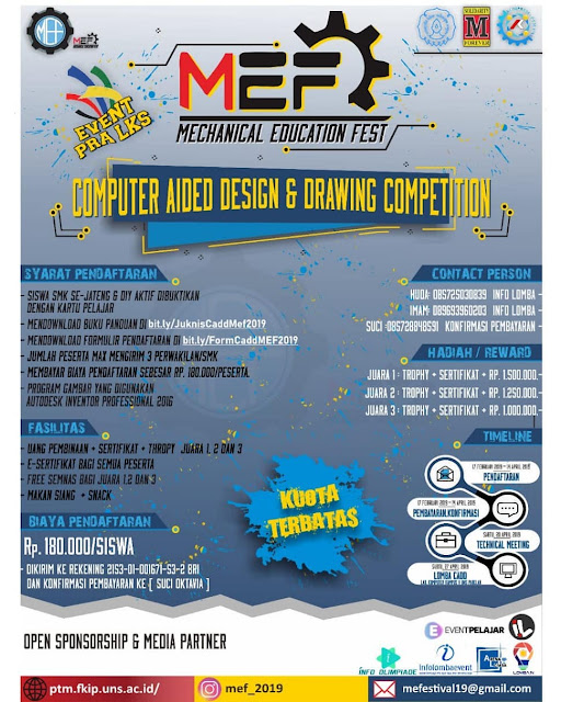 Lomba Gambar Teknik Mesin MEF CADD 2019 SMK Se-Jawa Tengah