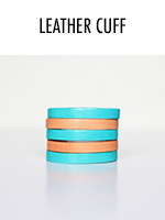 In peach & teal, this leather cuff is a bold statement piece