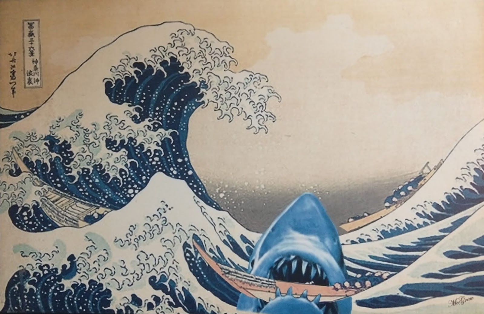 A painting of a man in a boat who's successfully made it to a calm spot between two tidal waves but whose boat is now being bit in two by a giant shark.