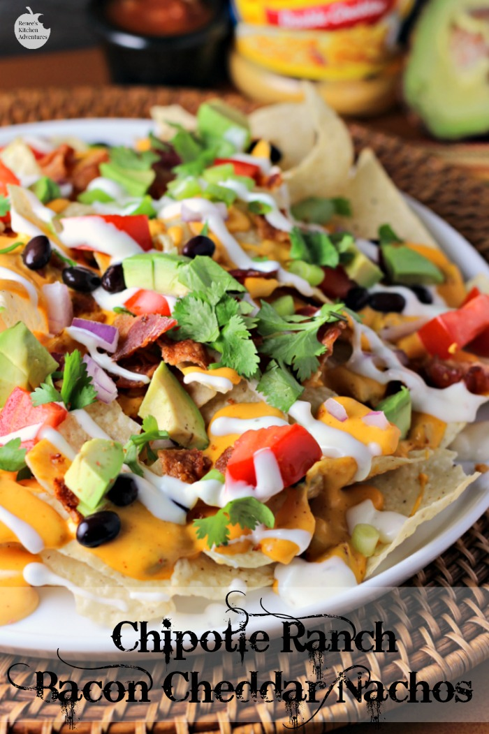 Chipotle Ranch Bacon Cheddar Nachos | by Renee's Kitchen Adventures - Easy recipe for a delicious appetizer or fun main dish the whole family will love!  Cheesy goodness with every bite! #SimmeredinTradition