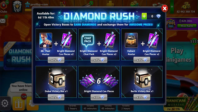 Diamond Rush Free Rewards 8 ball pool