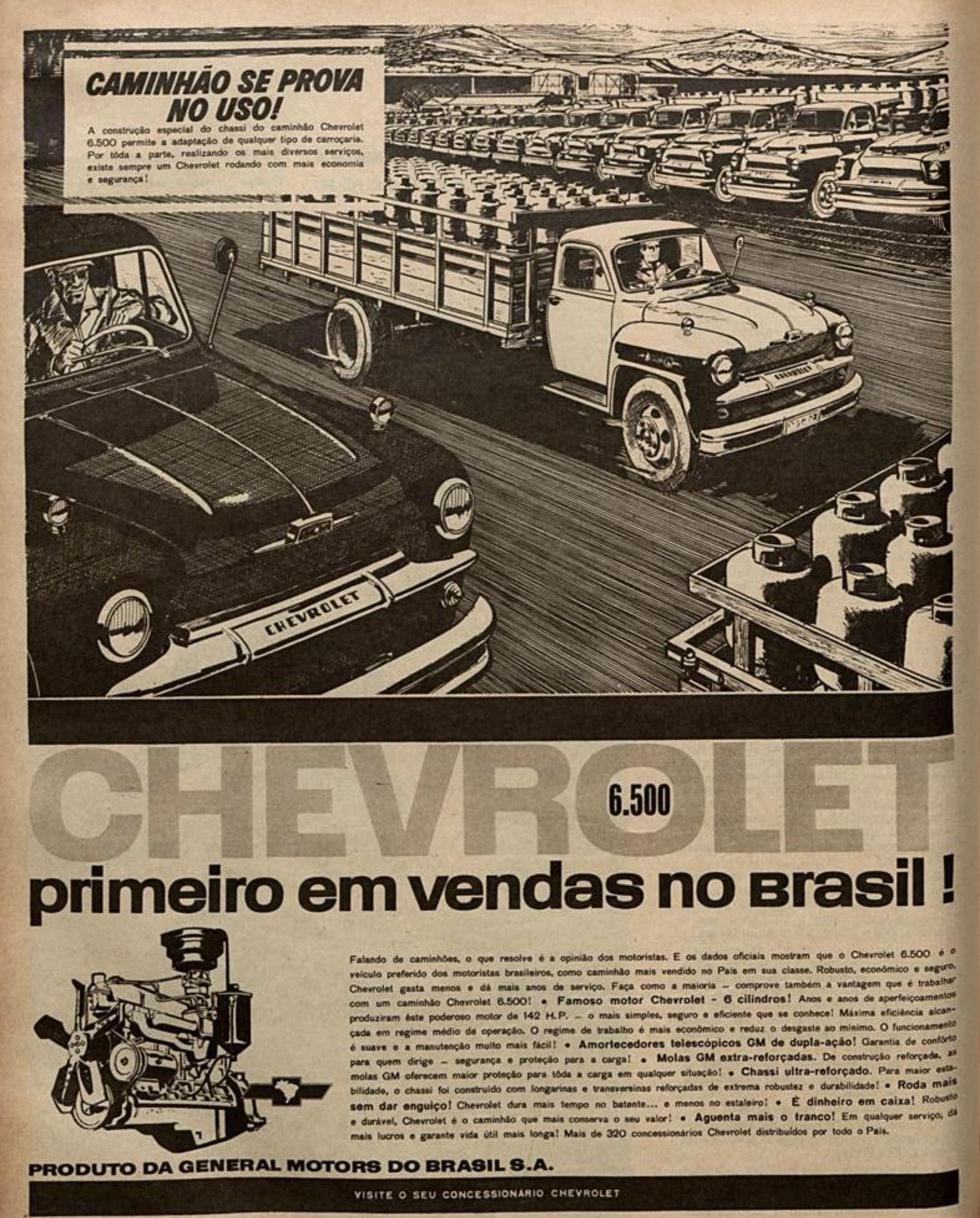 Propaganda antiga da Chevrolet promovendo sua linha de caminhões em 1962