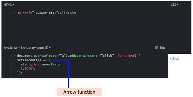 setTimeout with arrow function as a callback