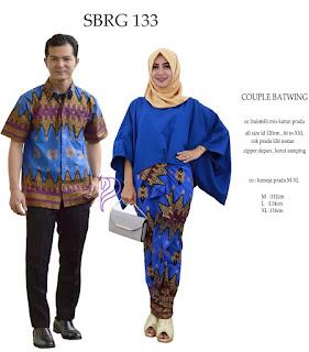 Batik Pasangan SBRG 133 Couple Gamis Kebaya Modern Biru