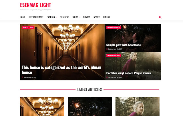 Esenmag Responsive Magazine News Personal Blogger Template Theme