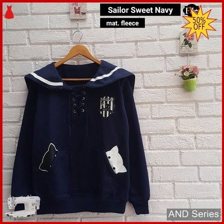 AND222 Sweater Wanita Sailor Sweet Biru Navy BMGShop