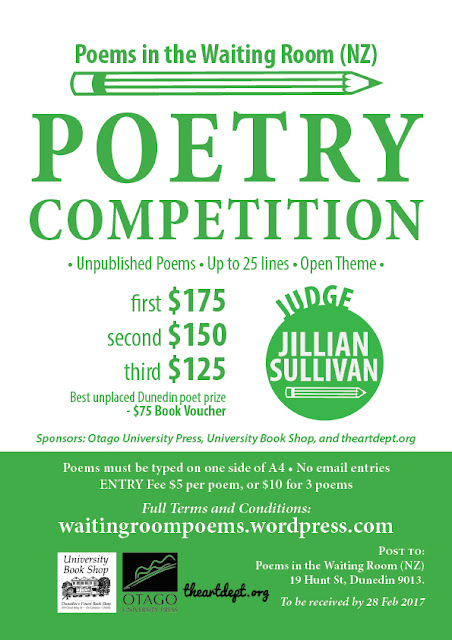 Poems in the Waiting Room 2017 Poetry Competition Poster designed by Kura Carpenter