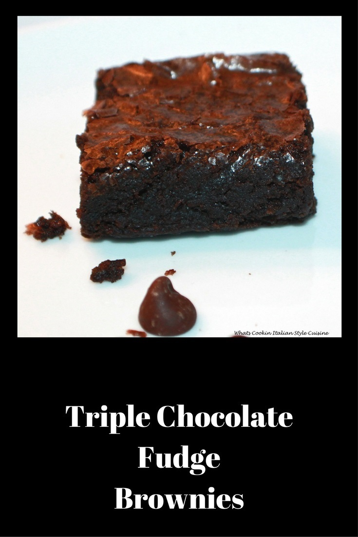 these are a decadent brownie on a  white plate.  a fudgy moist brownie with Triple chocolate brownie are the the best for any  chocolate lovers