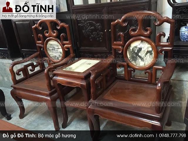 Sản phẩm bàn ghế móc gỗ hương 6 món
