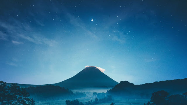 Beautiful Background Moon Mountain