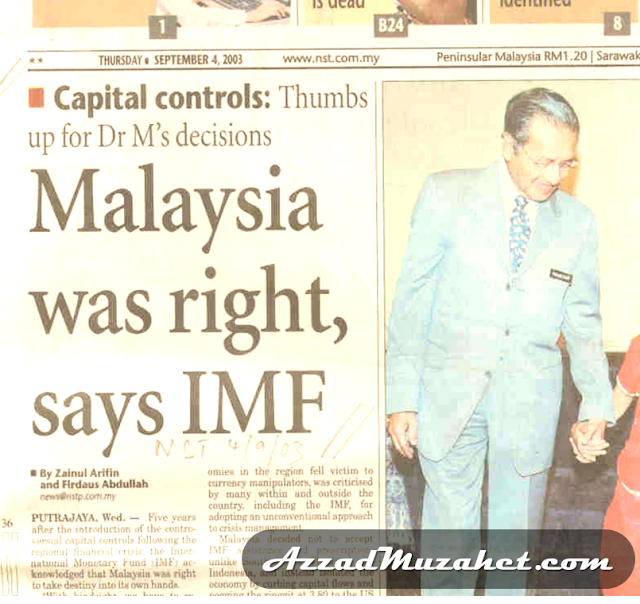 Malaysia was right says IMF, NST 4th September 2003