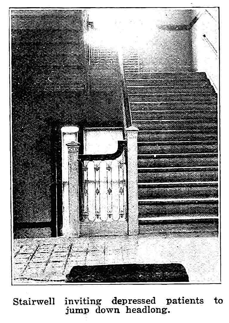 """""""Stairwell inviting depressed patients to jump down headlong"""" photograph from a 1921 critical look at mental asylum design"""