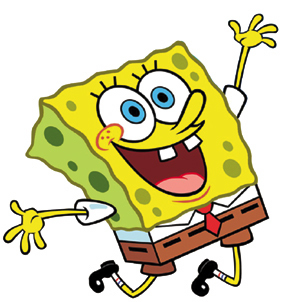Spongebob bergembira melompat
