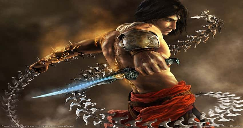 Prince of Persia the character of the Prince of Persia The Two Thrones Game with blue knife