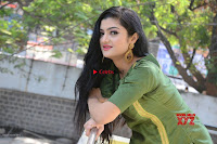 Akshitha cute beauty in Green Salwar at Satya Gang Movie Audio Success meet ~  Exclusive Galleries 008.jpg