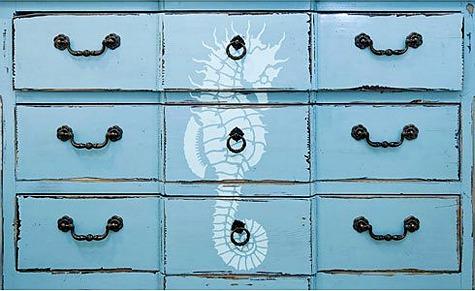 Seahorse Stencil on Dresser