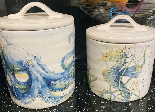 Costal Storage Canisters with Lid Ocean Life Octopus Seahorse Motif Design