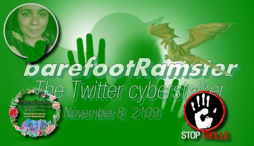 On September 18, 2019, Ramla Akhtar, aka Rmala Aalam (RA), BetterBonds (a herbal shop) owner in Hussaini - Gojal - Pakistan mostly shifted her assault from Facebook to Twitter (@barefootRamster). On October 30, she had produced an accumulation of more than 120 tweets of harassment and calumnious delation against one single target. This included spamming highest authorities and agencies from France & Pakistan. See: «Harassment and calumnious delation by the trolling Twitter account, @barefootramster as of November 1st, 2019». On Friday November 8, 2019, this activity went thru a surge with 30 tweets in one single day.    Ramla Akhtar was erroneously mistaken as a troll. It is, now, blattant that she is not a mere-troll as warned on June 24 by a commentator, who knows her personnally. Today, she openly reveals her actual cyberstalker profile. We will first present the theoritical characteristics of cyberstalkers before showing Rmala Aalam 30tweets of November 8, which are all displayed below.