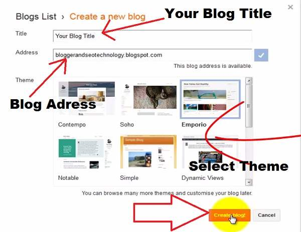 Set up free blogs with Blogger