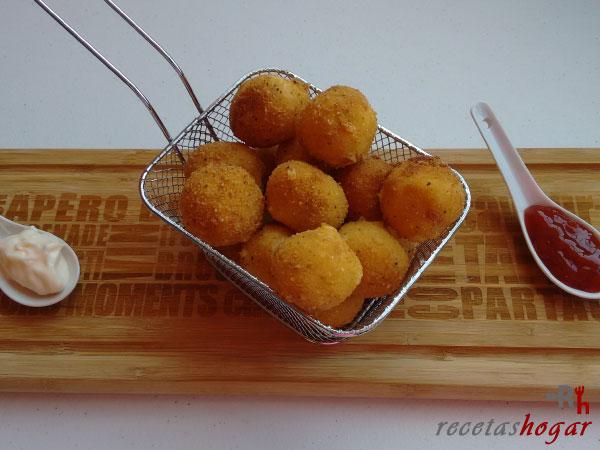 Receta de las bolitas de papas con baicon y queso