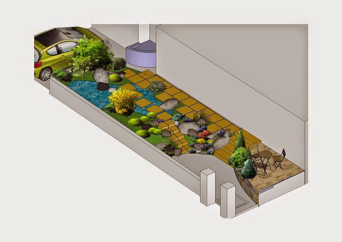 Bassin et terrasse dans un petit espace paysagiste val d for Photo de bassin de jardin avec cascade
