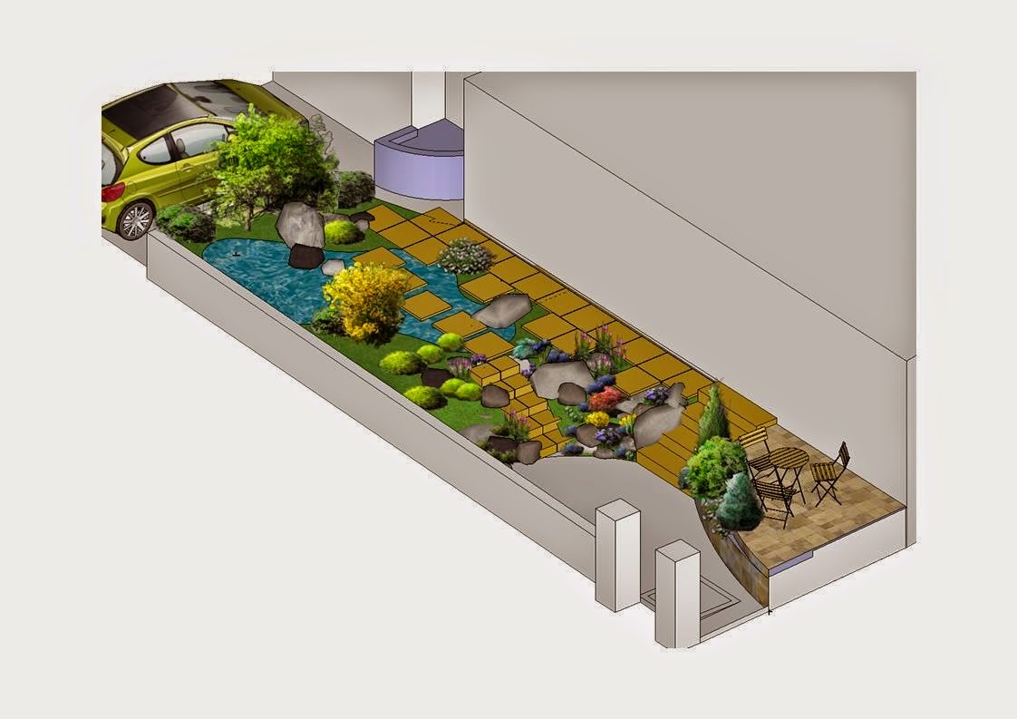 Bassin et terrasse dans un petit espace paysagiste val d 39 oise cr ation jardin 95 - Foto de bassin de jardin avec cascade ...