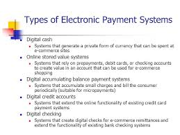 Various types of electronic payment systems (EFT) - E-COMMERCE