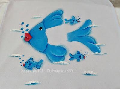 pintura tecido peixe azul