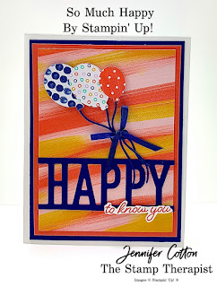 Happy to know you card using Stampin' Up!'s So Much Happy Bundle along with the Playing with Patterns designer paper and Ribbon Combo.  #StampinUp #StampTherapist