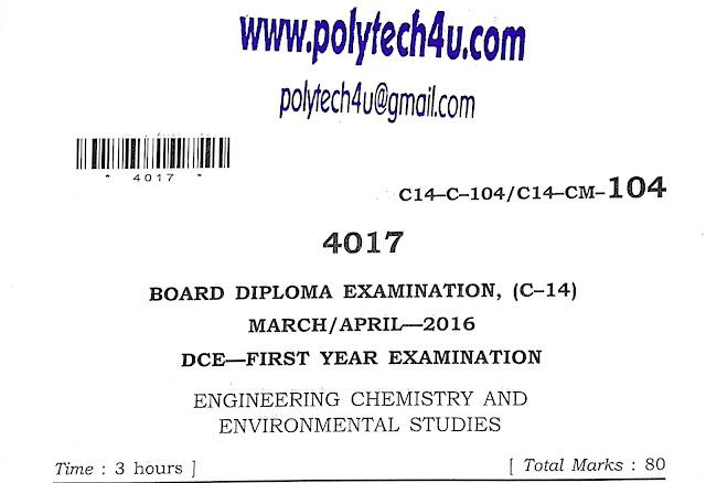 POLYTEHCNIC C-14 DCE CHEMISTRY MODEL PAPER 2016