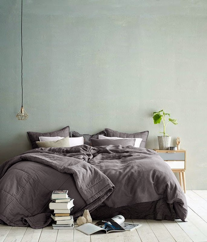 Chambre Décoration épuré Mur Vert Pale Pastel