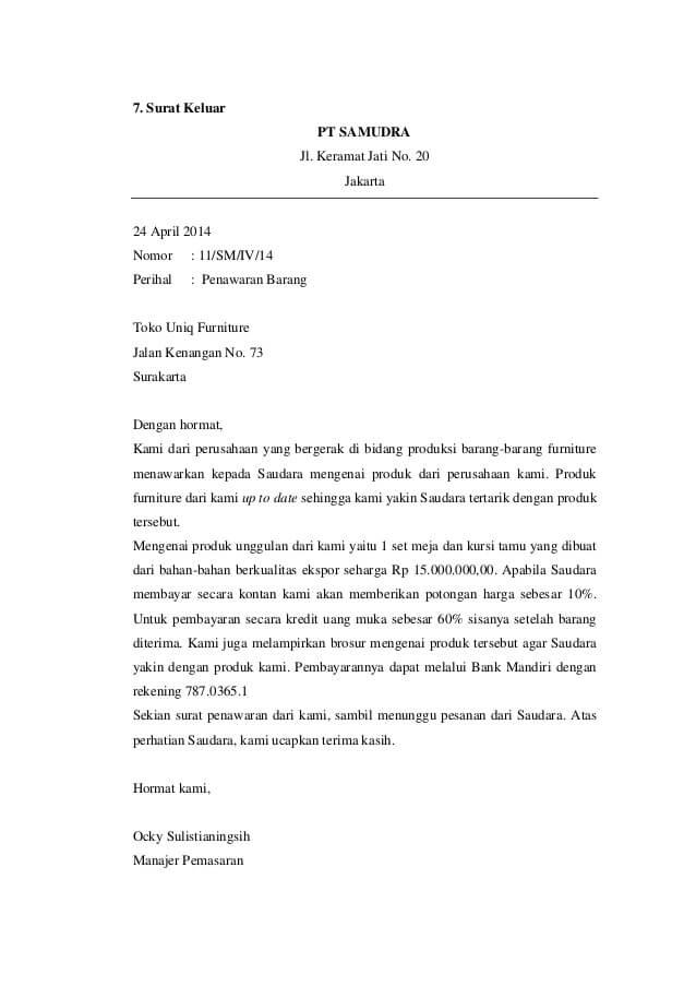 Contoh Surat Penawaran Barang Dan List Harga Barang Lengkap