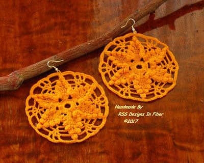 Yellow Star Dangle Crochet Lace Earrings - Handmade by RSS Designs In Fiber