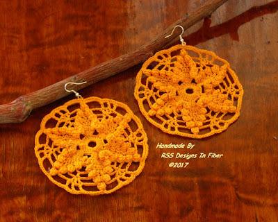 Yellow Star Dangle Crochet Lace Earrings - Handmade by RSS Designs In Fiber