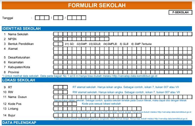 Download Formulir Dapodik Excel F Sekolah F Ptk Gtk F Sarpras