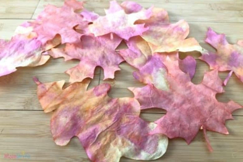 coffee filter fall leaves craft