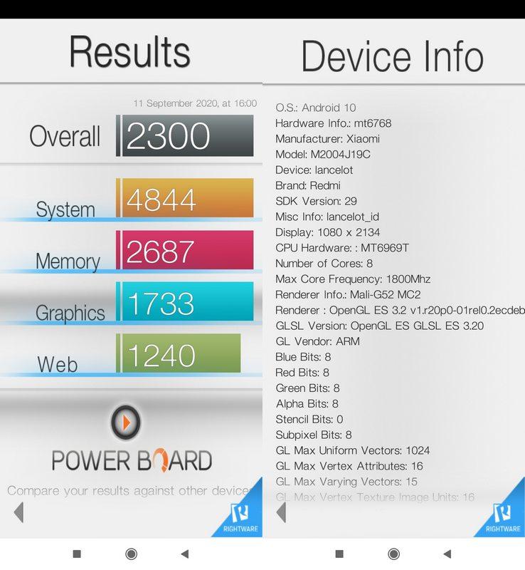 Benchmark Basemark OS II Xiaomi Redmi 9