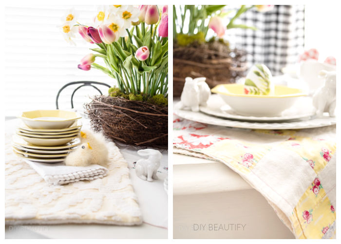 soft yellow vintage items on Easter table