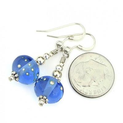 blue lampwork and silver earrings jewelry gift idea for women