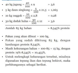 contoh perhitungan pakan ayam kampung