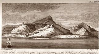 En Endeavour, acercándose a una de las islas de la Mcronesia.