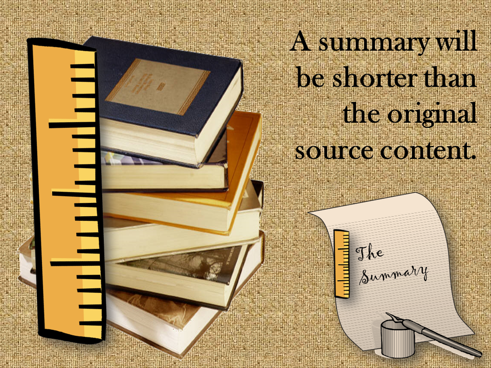 A stack of books is bigger than a summary on a piece of paper.
