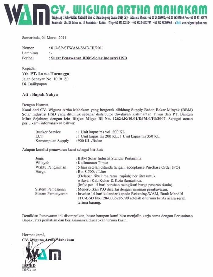 Contoh Surat Penawaran Jasa Keagenan Kapal