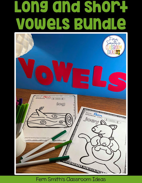 Your Students will ADORE this 120 Page Coloring Book for Long and Short Vowels! Add it to your plans to compliment any Short Vowel and Long Vowel Unit! 120 Coloring Pages #FernSmithsClassroomIdeas