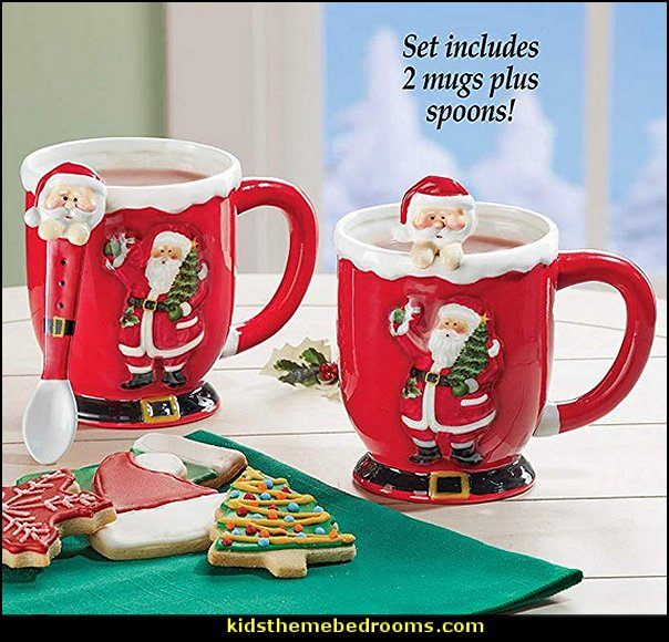 Christmas Santa Mugs with Spoons  christmas kitchen decorations - Christmas table ware - Christmas mugs  - Christmas table decorations - Christmas glass ware - Holiday decor - Christmas dining - christmas entertaining - Christmas Tablecloth - decorating for Christmas - Santa mugs - Christmas Cookie Cutters  - snowman and reindeer kitchen  accessories - red cardinal kitchen decor - seasonal dinnerware