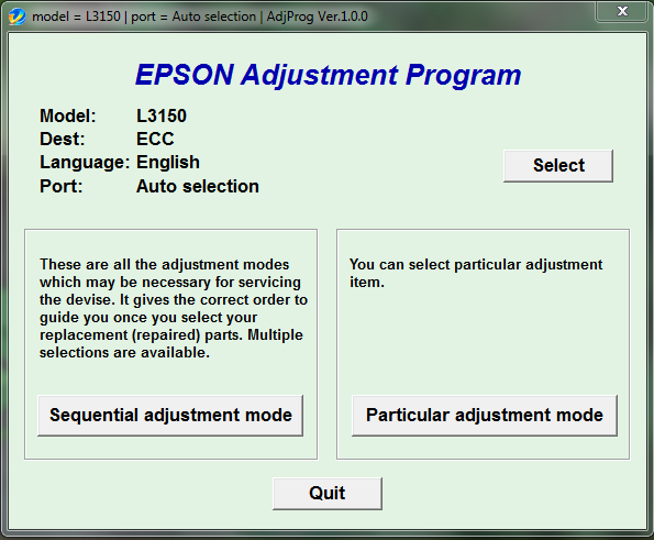 Epson L3150 Resetter