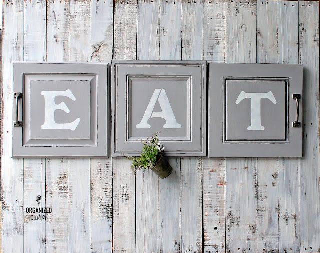 Repurposed Cabinet Door EAT Sign