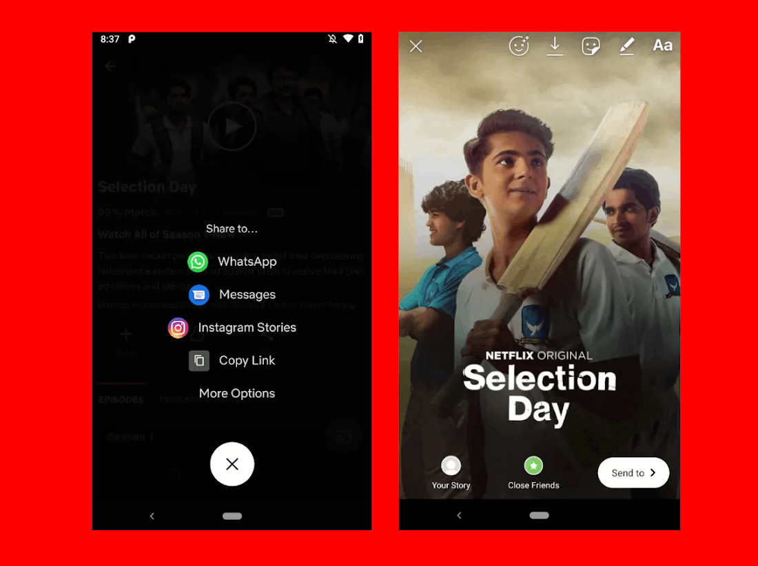 After iOS, Netflix Now Allows Android Users To Share What They're Watching On Instagram Stories