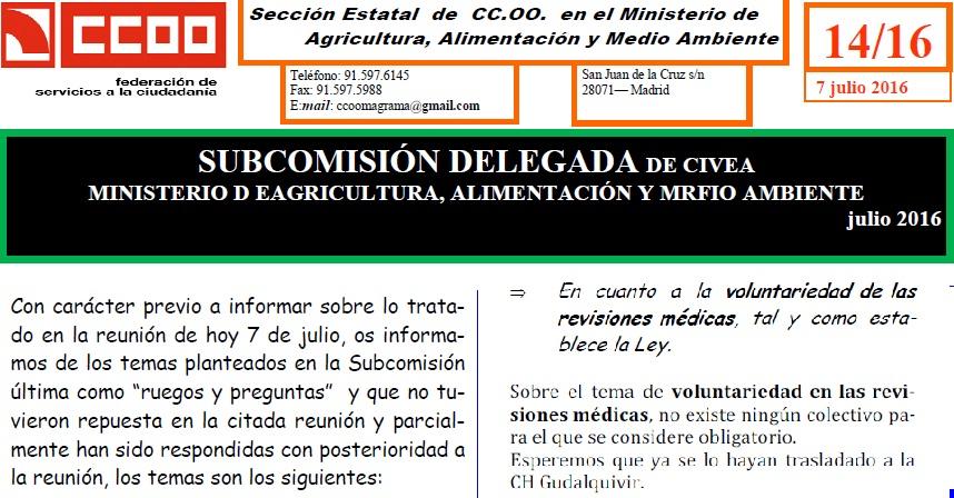 REUNIÓN CIVEA 7/7/2016-INFORMA CCOO